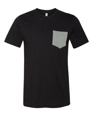 MEN'S BASIC TEE - BLACK WITH HEATHER POCKET