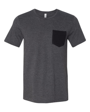 MEN'S BASIC TEE - HEATHER WITH BLACK POCKET