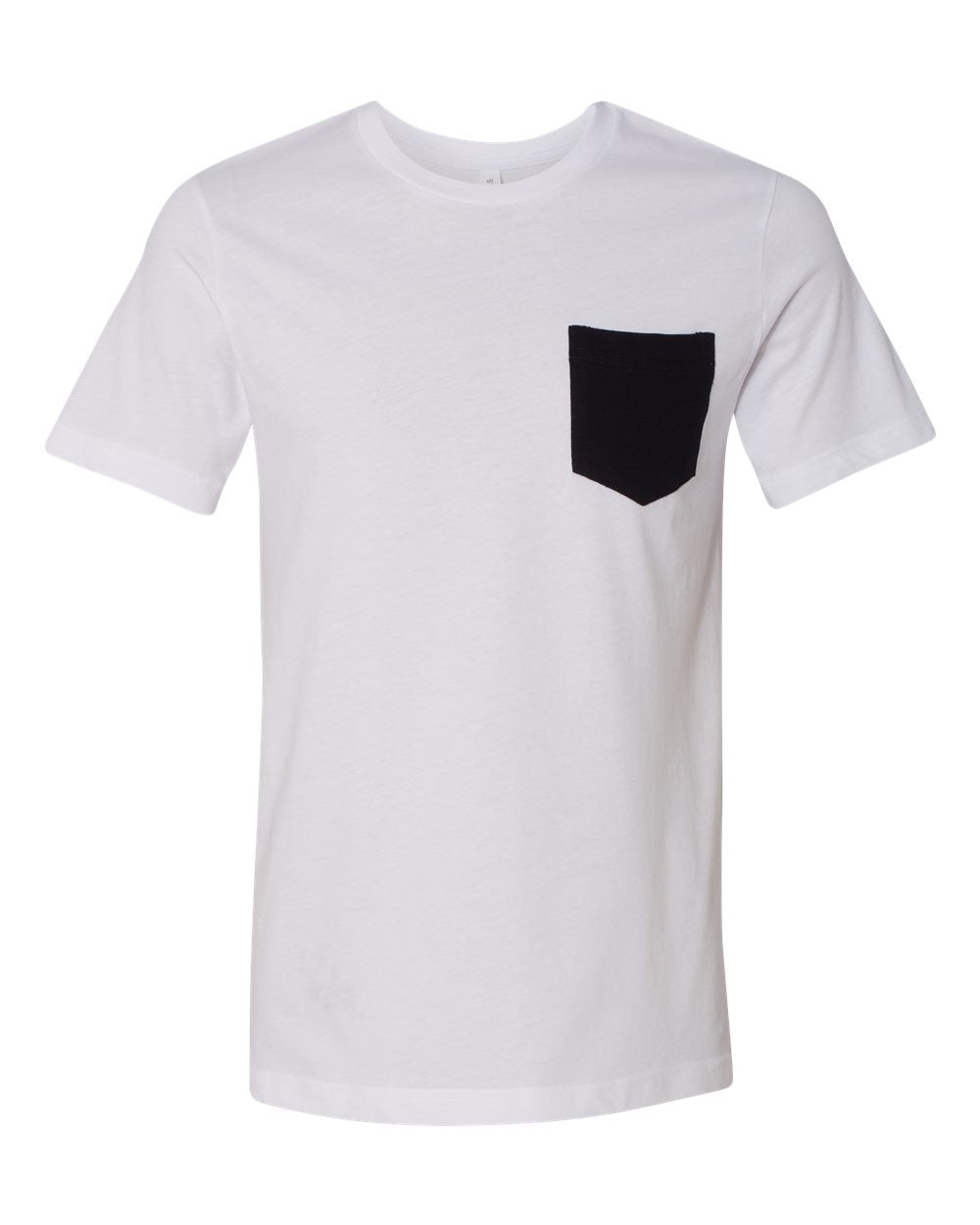 MEN'S BASIC TEE - WHITE WITH BLACK POCKET