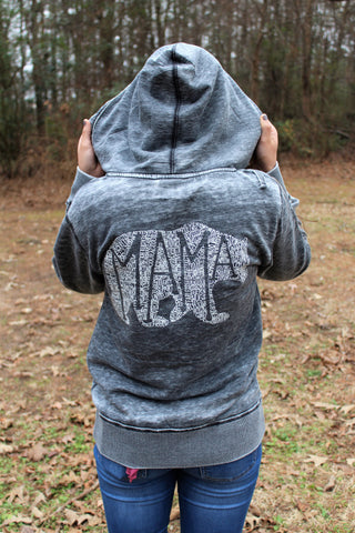What's In A Mama Acid Wash Zip up - CHARCOAL