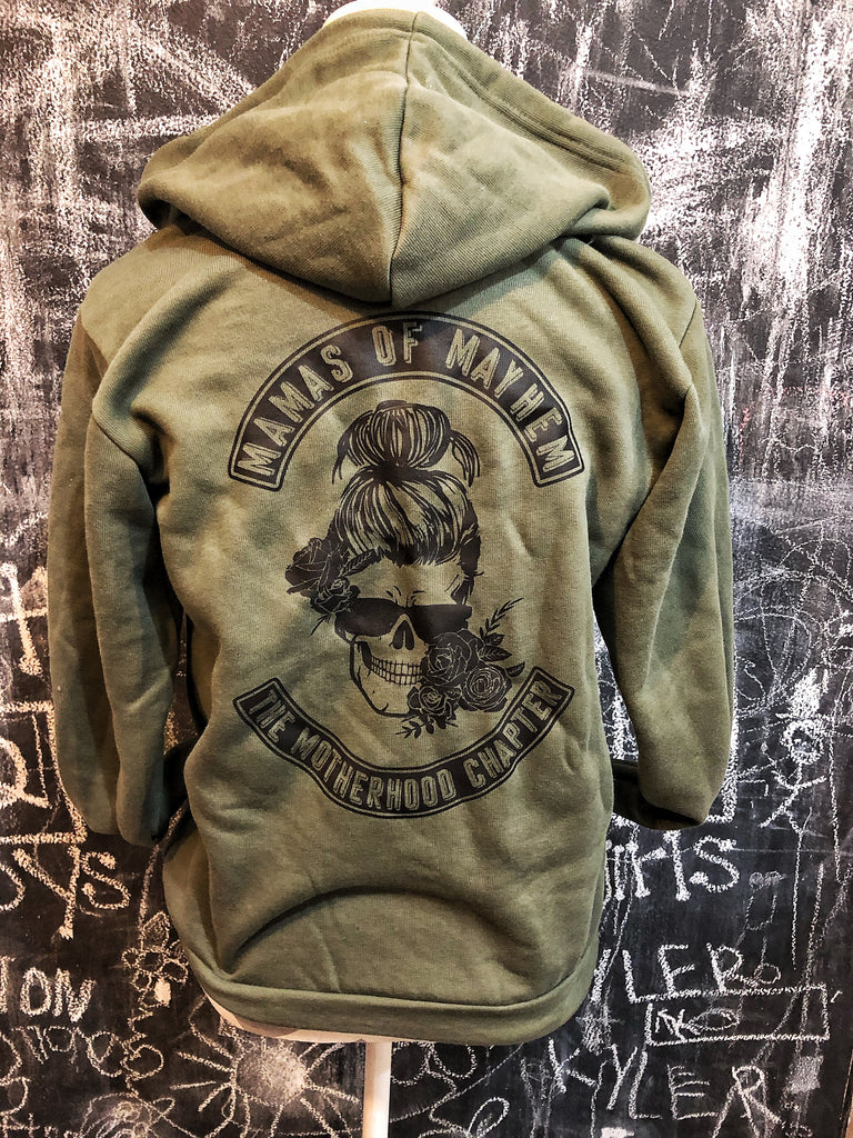 Mamas of Mayhem Military Green Full Zip