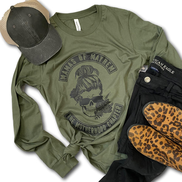 Mamas of Mayhem - Military Green Long Sleeve