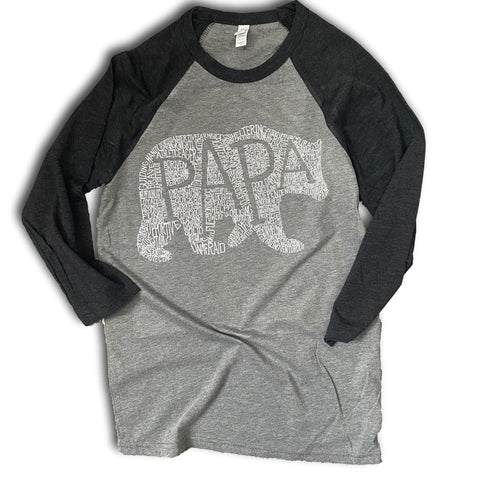 What's In A Papa grey/black raglan