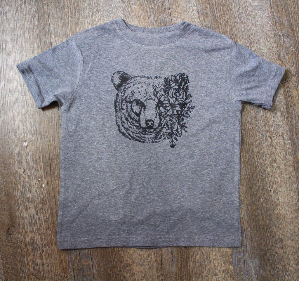 Bear floral graphic tee