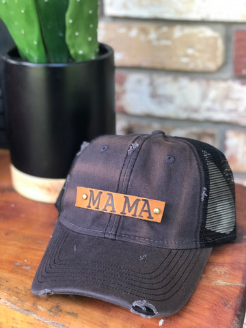 Grey Distressed Genuine Leather MAMA patch cap