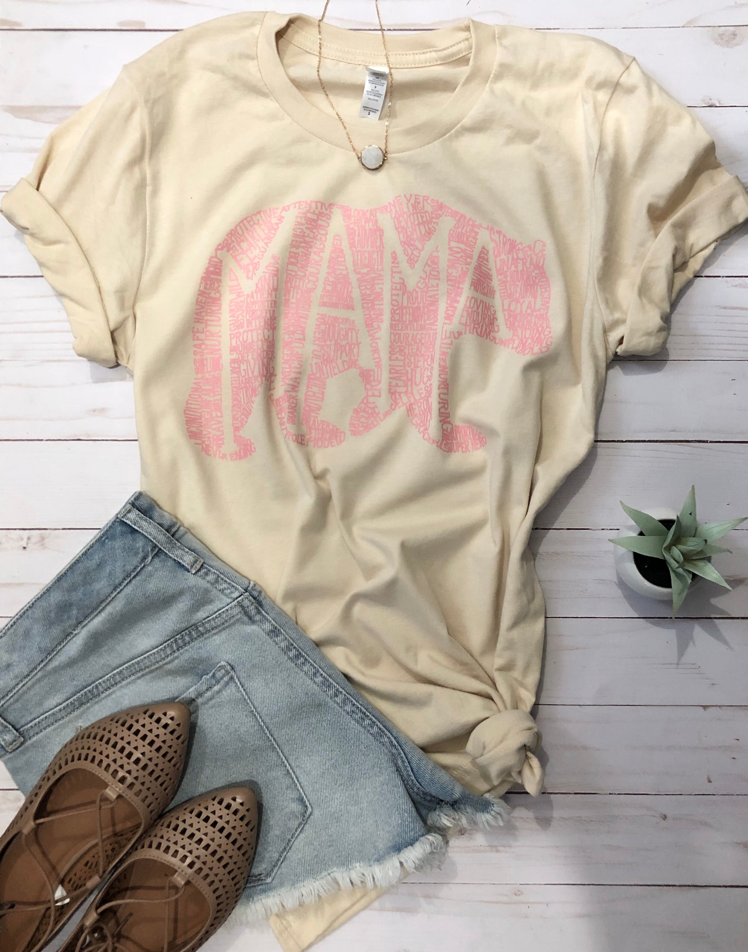 What's In A Mama CREAM with pink ink tee