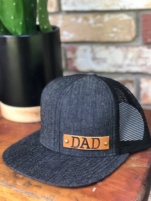 Triblend Genuine Leather dad patch flatbill