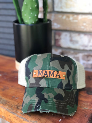 Camo distressed Genuine Leather MAMA patch cap
