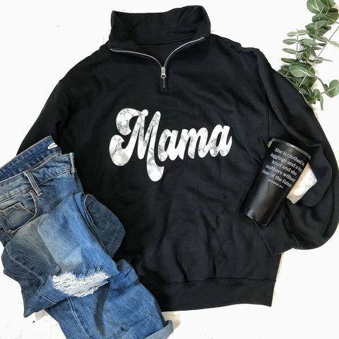 Marble Mama Black Pullover