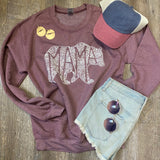 What's In A Mama Crew Heathered Maroon Sweatshirt