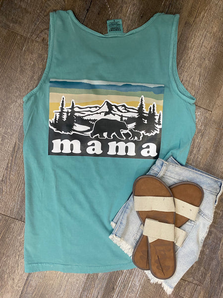 MAMA pocket comfort colors tank