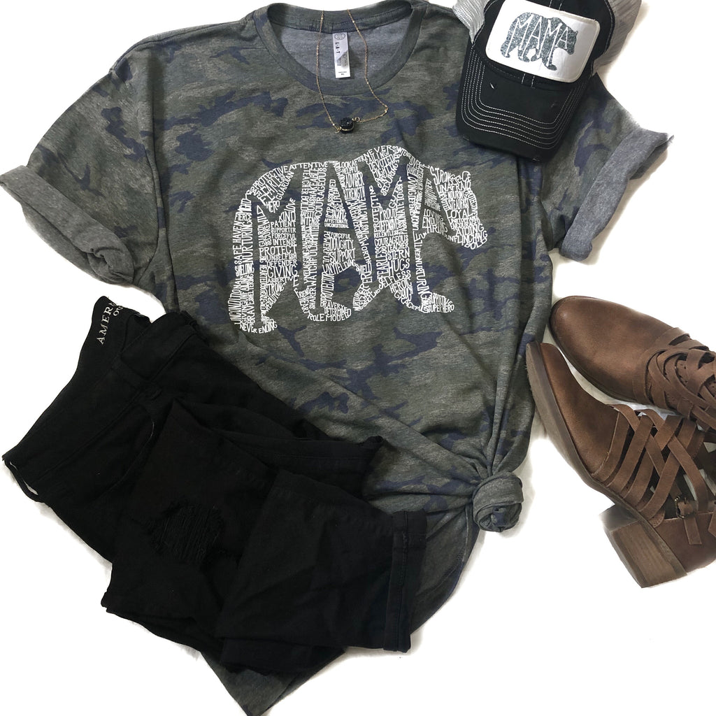 Heathered Camo What's In A Mama  tee