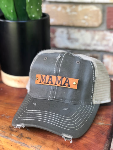 Olive Distressed Genuine Leather MAMA patch cap