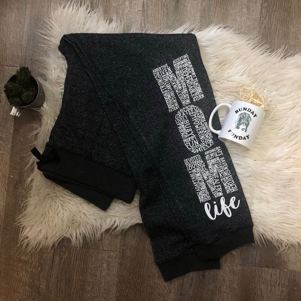 Glitter French Terry MOM LIFE sweatpants