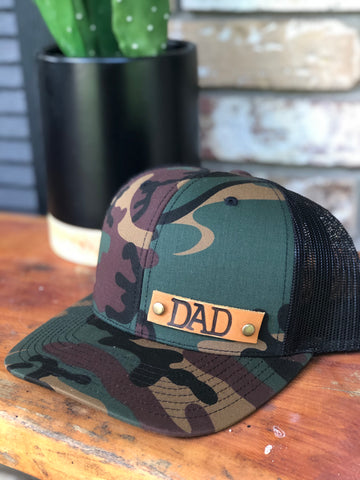 Camo Genuine Leather Patch DAD flatbill