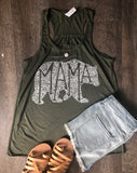 What's In A Mama flowy military green tank