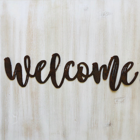 "Welcome - Dashed - 12"" Rusted, Rusty Metal Script Sign"