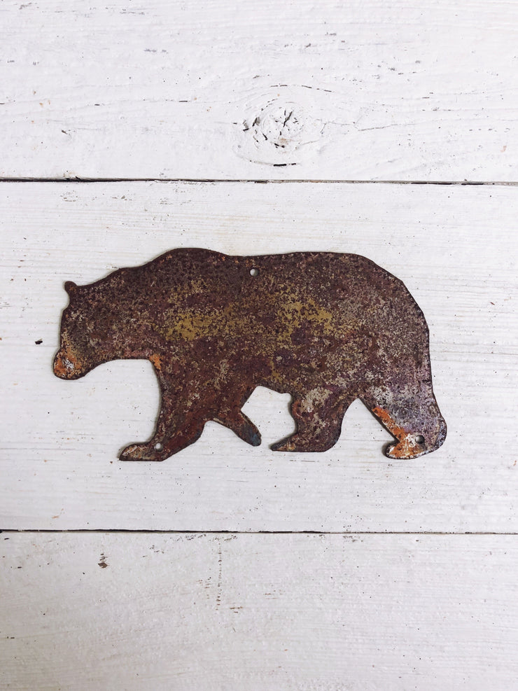 "Bear Shape / 4"" to 24"" tall / Rusty or Raw Metal"