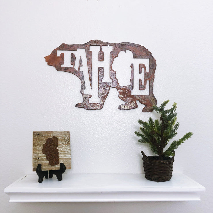"Lake Tahoe Bear - 18"" Rustic Metal Sign"