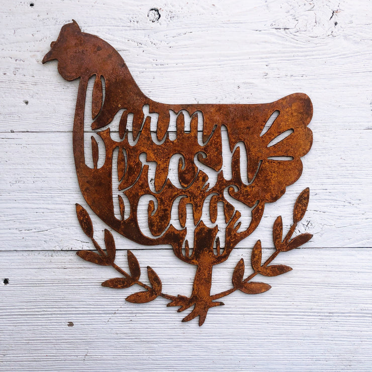 "Farm Fresh Eggs - 15"" Rustic Metal Hen"