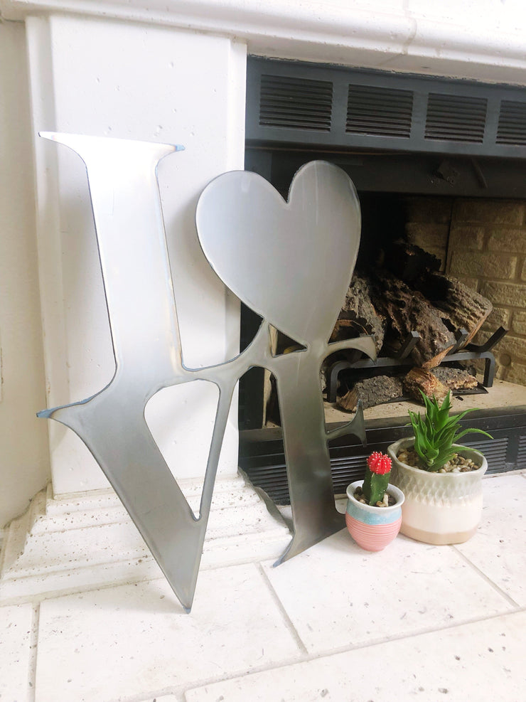 "Love Heart Shape / 4"" to 24"" tall / Rusty or Raw Metal"