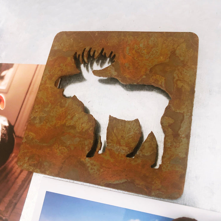 "Moose Magnet - 4"" Rusty Metal Square Magnet"