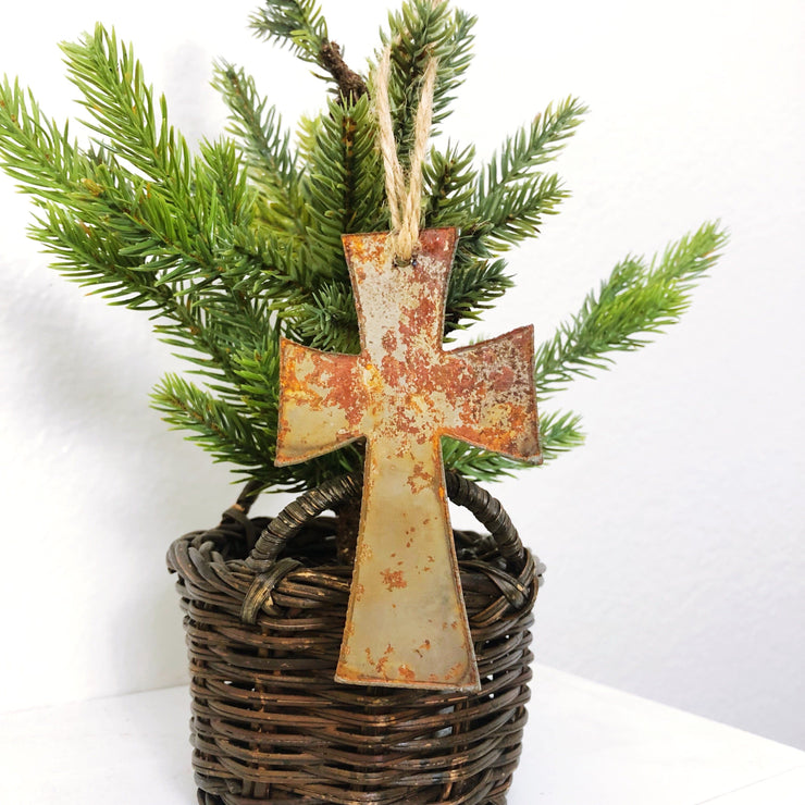 Single or Set of 3 Rusty Metal CROSS Ornament(s)