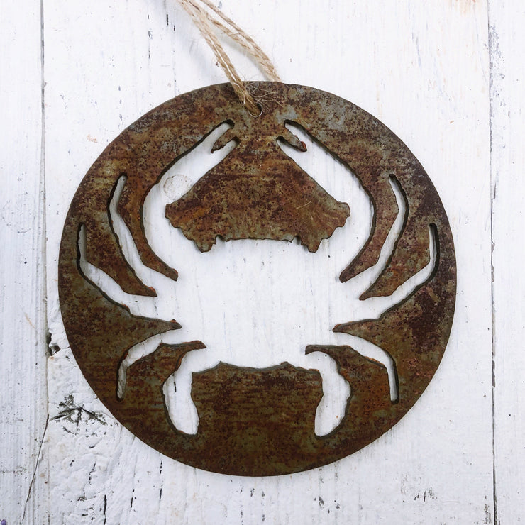 Single or Set of 3 Rusty Metal ROUND CRAB Ornament(s)