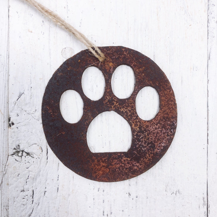 Single or Set of 3 Rusty Metal SMALL PAW PRINT Ornament(s)