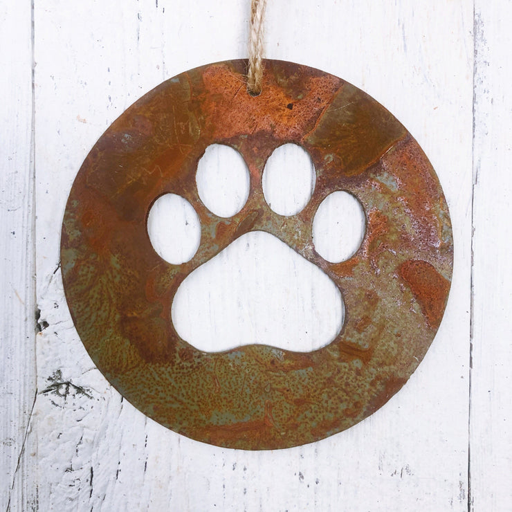 Single or Set of 3 Rusty Metal ROUND PAW PRINT Ornament(s)