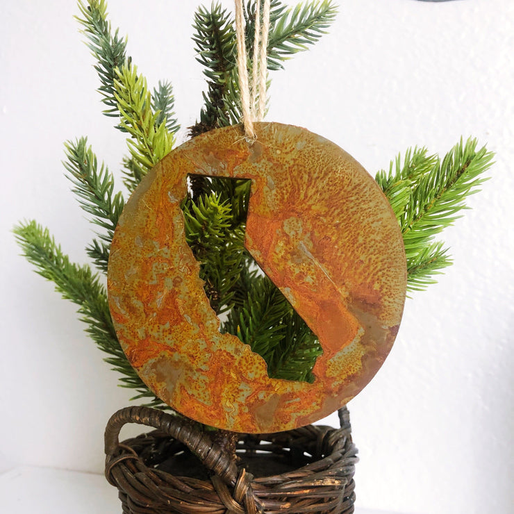 Single or Set of 3 Rusty Metal ROUND CALIFORNIA Ornament(s)
