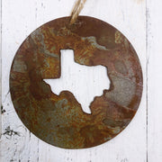 Single or Set of 3 Rusty Metal ROUND TEXAS Ornament(s)