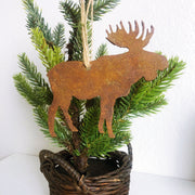 Single or Set of 3 Rusty Metal MOOSE Ornament(s)