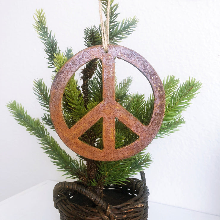 Single or Set of 3 Rusty Metal PEACE Ornament(s)
