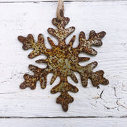 Single or Set of 3 Rusty Metal SNOWFLAKE Ornament(s)