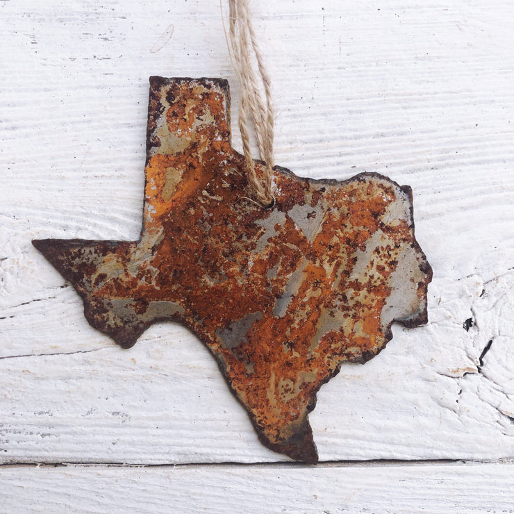 Single or Set of 3 Rusty Metal TEXAS Ornament(s)
