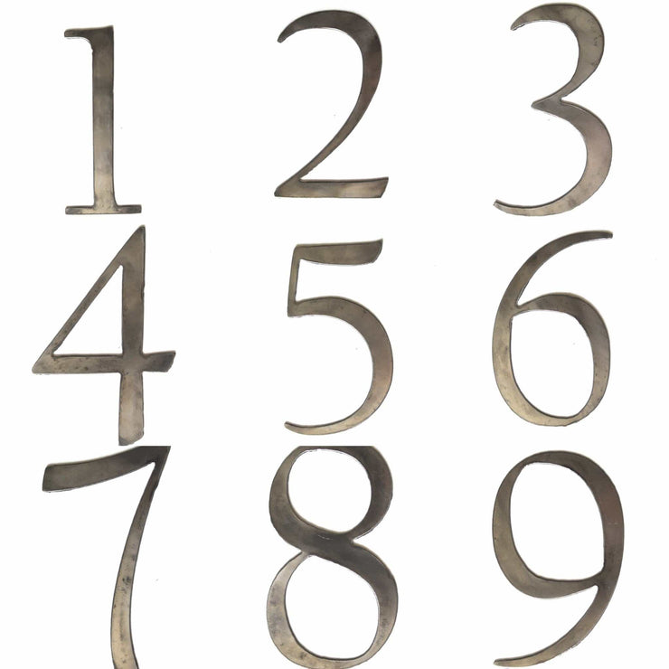 "6"" Serif Metal Numbers / Raw Steel"