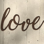 "Love - Thin - 18"" Rusty Metal Script Sign"