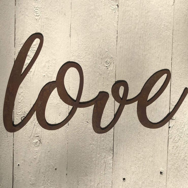 "Love - Thin - 24"" Rusty Metal Script Sign"