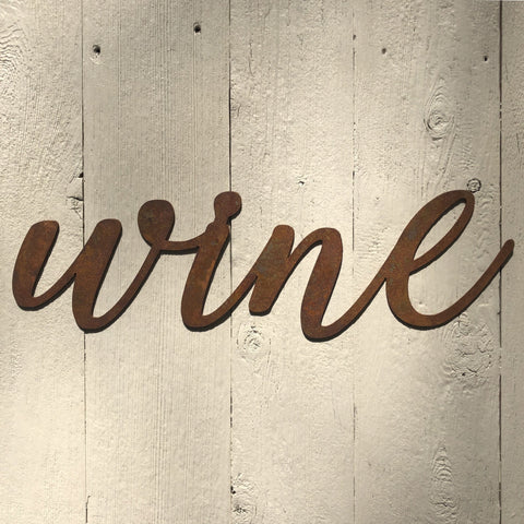 "Wine - Thin - 12"" Rusted, Rusty Metal Script Sign"