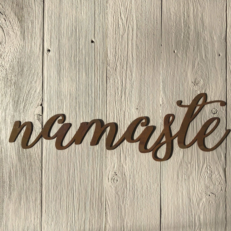 "Namaste - Thin - 24"" Rusted, Rustic Metal Script Sign"
