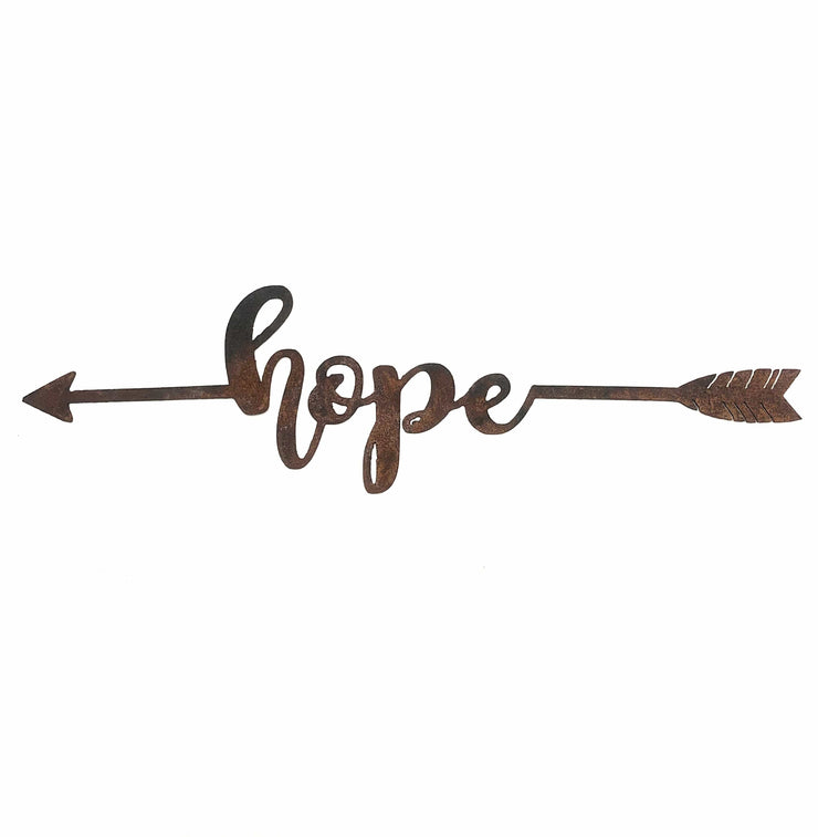 "Hope - 18"" Rustic Metal Boho Arrow"
