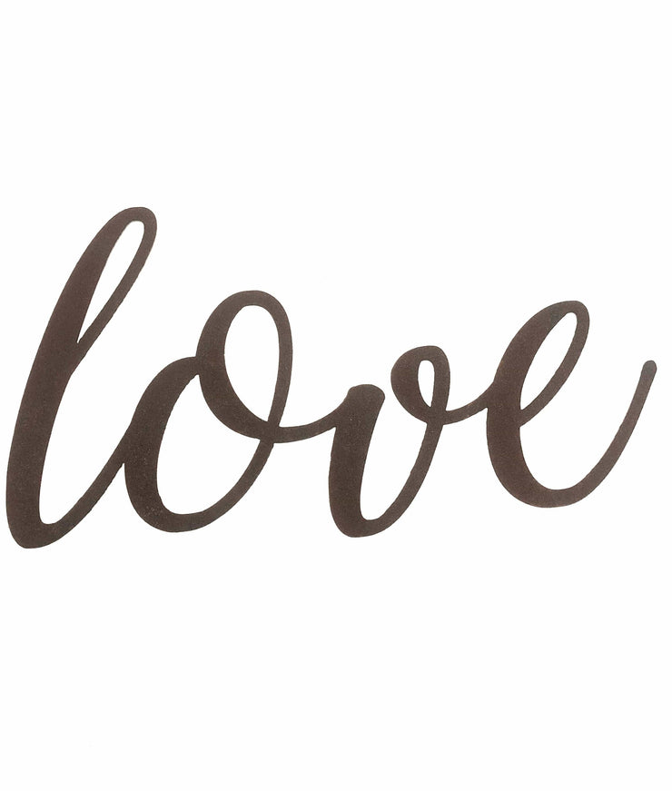 "Love - Thin - 18"" Rusted, Rustic Metal Script Sign"