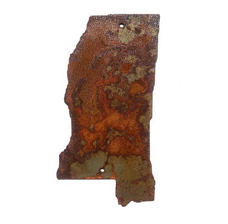 "Mississippi State Shape / 4"" to 24"" tall / Rusty or Raw Metal"