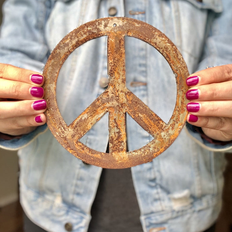 "Peace Sign Shape / 4"" to 24"" tall / Rusty or Raw Metal"