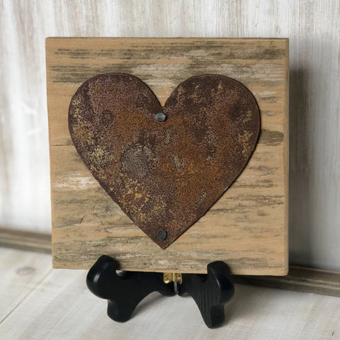 "Rusty Metal ""Heart"" on Rustic Reclaimed Cedar Wood - Ready to Hang - Primitive Farmhouse Sign"
