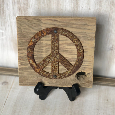 "Rusty Metal ""PEACE SIGN"" on Rustic Reclaimed Cedar Wood - Ready to Hang - Primitive Farmhouse Sign"