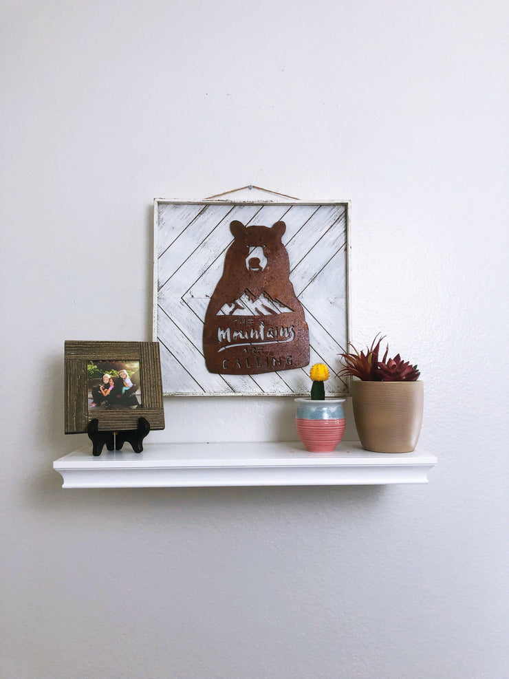 "Mountains Are Calling - 15"" Rustic Metal Bear Sign"
