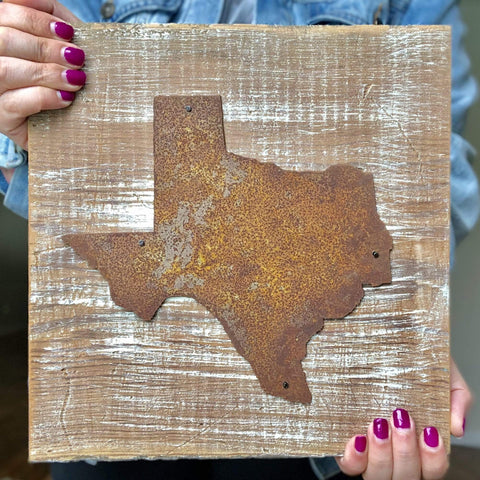 Rusty Metal Texas State on White Wash Reclaimed Barnwood - Ready to Hang!