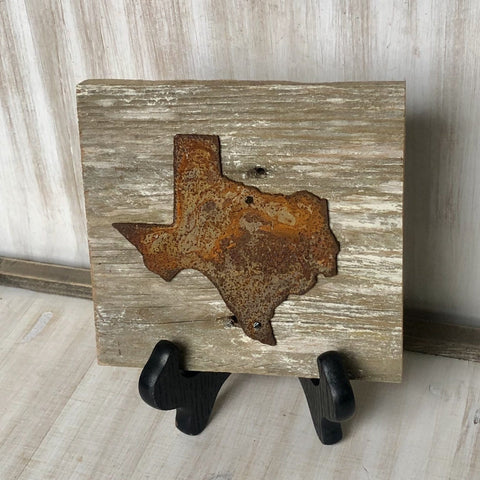 "Rusty Metal ""TEXAS"" on Rustic Reclaimed White Wash Cedar Wood - Ready to Hang - Primitive Farmhouse Sign"